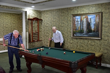Two residence playing pool
